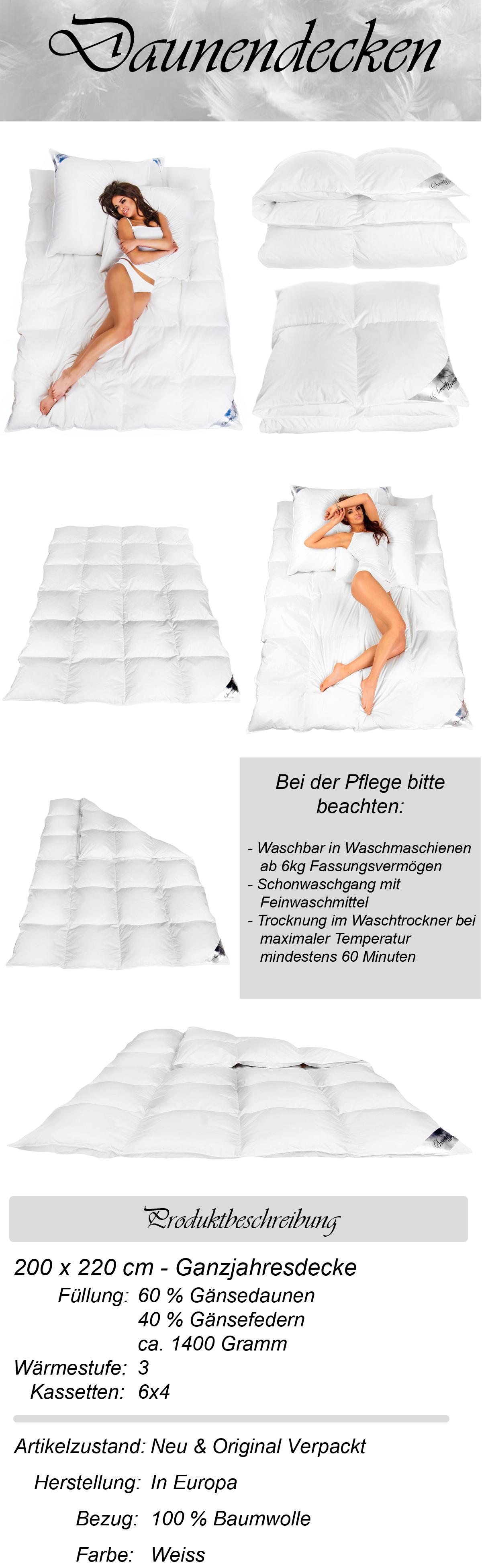 neu daunendecke ganzjahresdecke bettdecke daunen g nsedaunen 1400gr 200x220cm. Black Bedroom Furniture Sets. Home Design Ideas