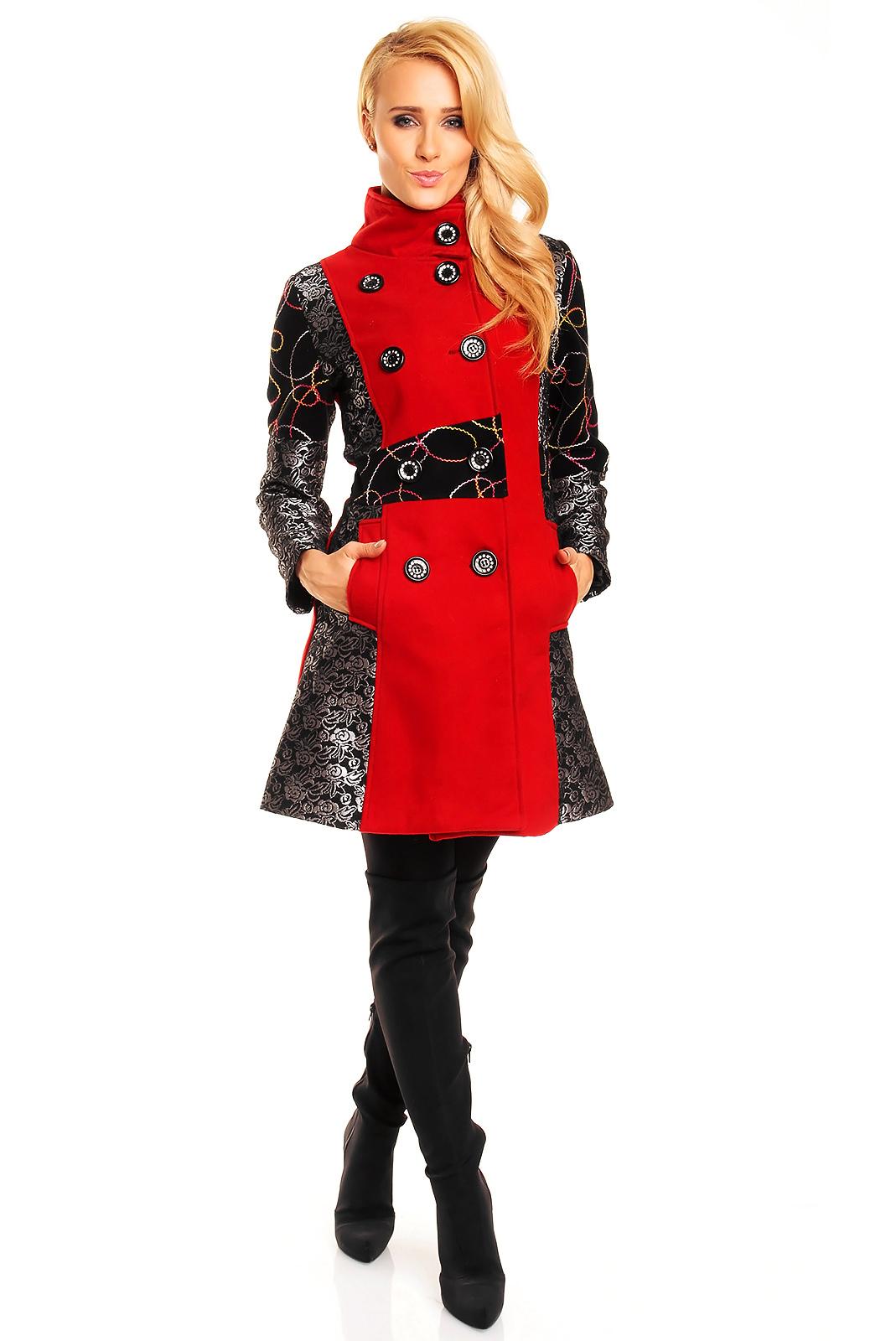 winter damen jacke mantel trenchcoat parka rot schwarz. Black Bedroom Furniture Sets. Home Design Ideas